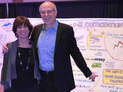 Sue Fody, graphic recording artist in Denver, Colorado, with Chuck Blakeman.
